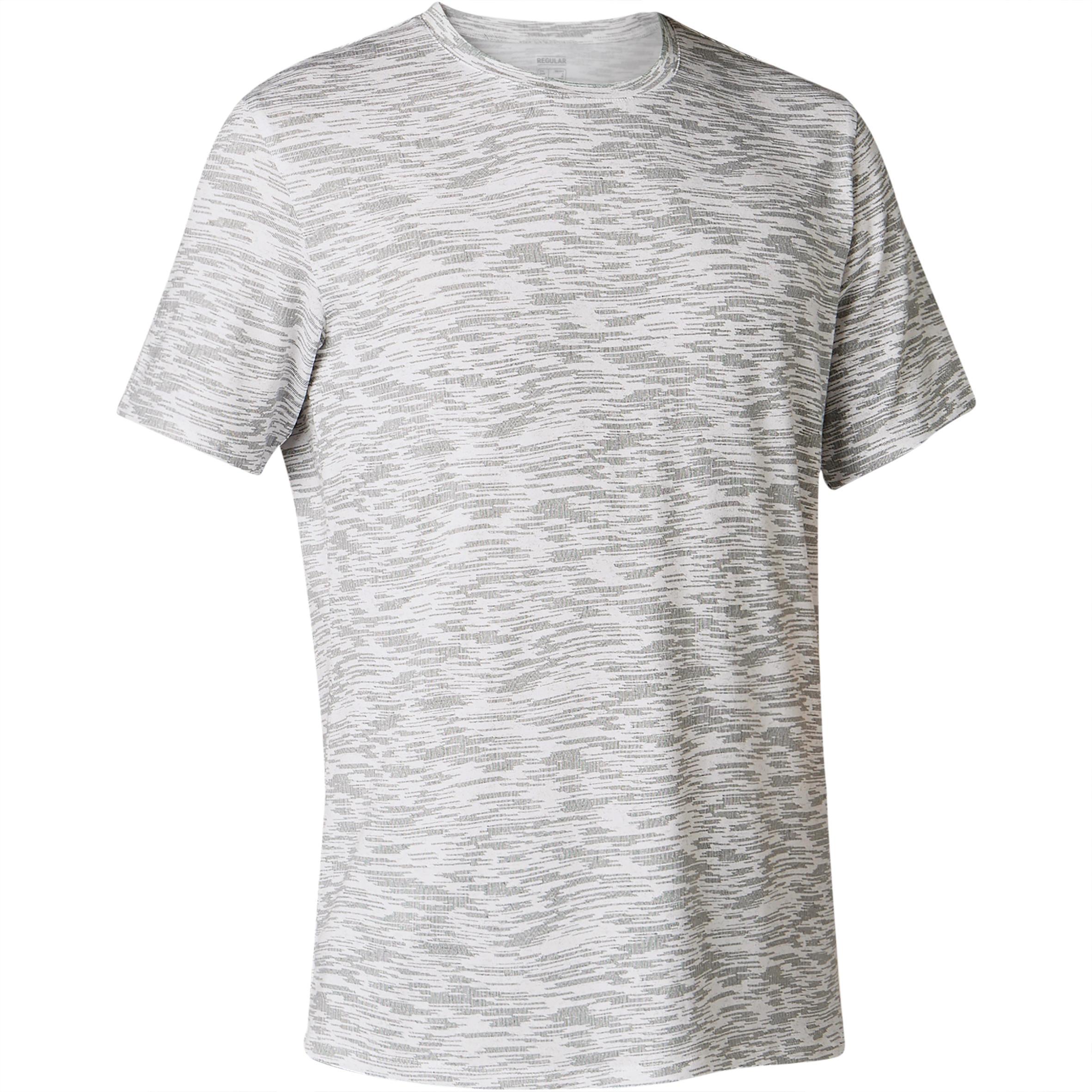 T-Shirt 500 Regular Gym & Pilates Herren weiß mit Print | Sportbekleidung > Sportshirts > Poloshirts | Domyos