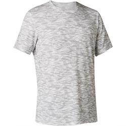 T-Shirt 500 regular Pilates Gym douce homme blanc avec motif