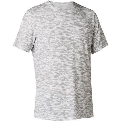 T-Shirt 500 regular Pilates Gym douce homme blanc avec motif