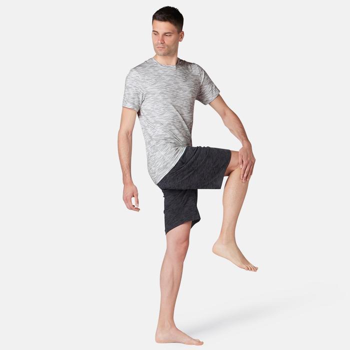 T-shirt voor pilates/lichte gym heren 560 wit met print