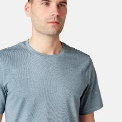 T-Shirt 500 regular Pilates Gym douce homme bleu chiné