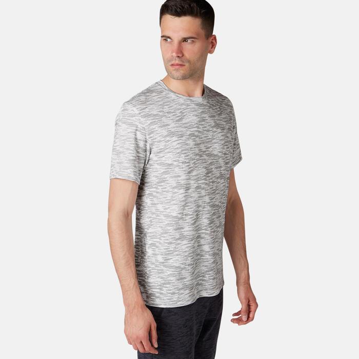 標準剪裁皮拉提斯與溫和健身T恤 - 白色印花