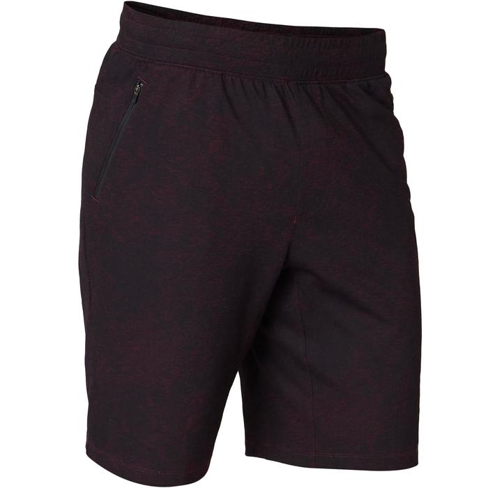 Sporthose kurz 520 Regular Gym & Pilates Herren bordeaux mit Print