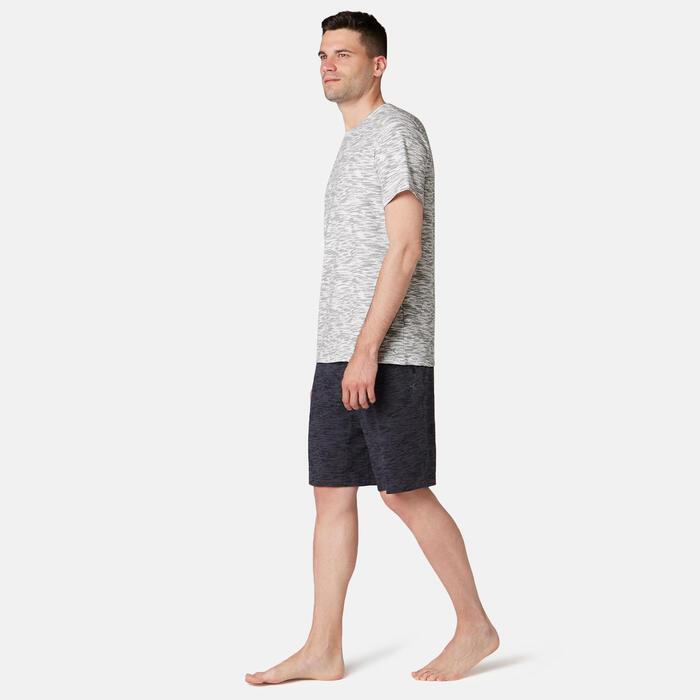 T-Shirt 500 regular Pilates Gym douce homme blanc priné