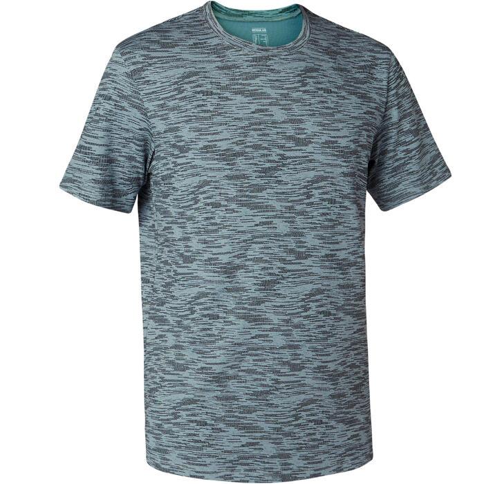 Camiseta 500 regular Pilates y Gimnasia suave hombre gris estampado