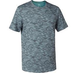 Men's Regular-Fit Pilates & Gentle Gym T-Shirt 500 - Grey Print