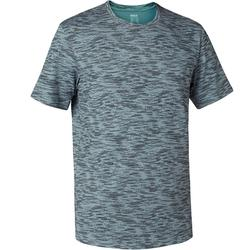 T-Shirt 500 regular Pilates Gym douce homme gris avec motif
