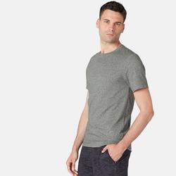 Heren T-shirt voor pilates en lichte gym 500 slim fit gemêleerd groen