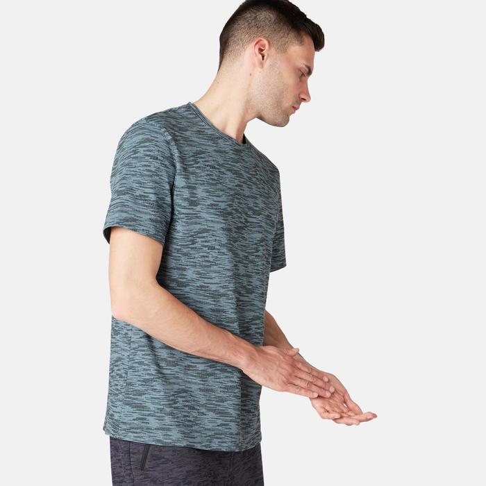 男款標準剪裁皮拉提斯與溫和健身T恤500 - 灰色印花