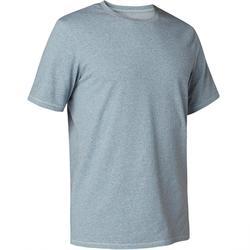 Camiseta 500 regular Pilates y Gimnasia suave hombre azul jaspeado