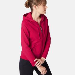 女款溫和健身與皮拉提斯連帽外套520 - 深紅色