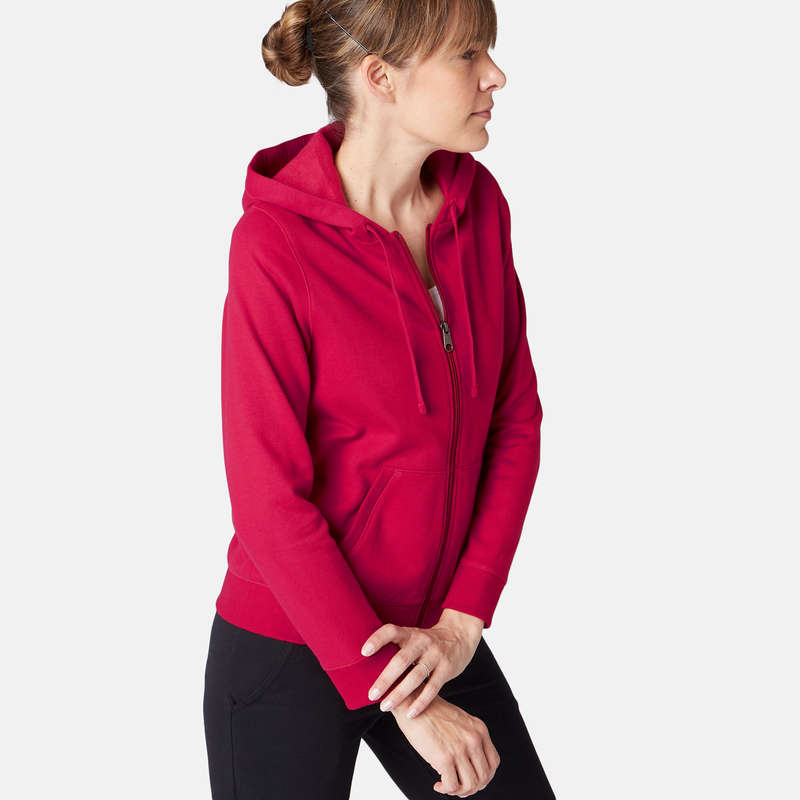 PANTALONI E GIACCHE DONNA Ginnastica, Pilates - Felpa donna gym 520 rossa NYAMBA - Abbigliamento donna