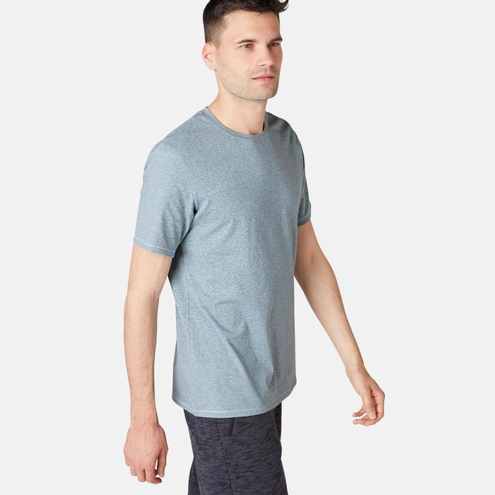 T-Shirt 500 regular Pilates Gym douce homme bleu chiné