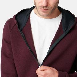 Heren hoodie met rits voor pilates en lichte gym 530 spacer gemêleerd bordeaux