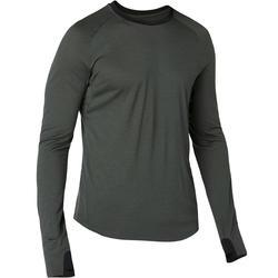 T-shirt 120 met lange mouwen pilates en lichte gym heren merinowol kaki