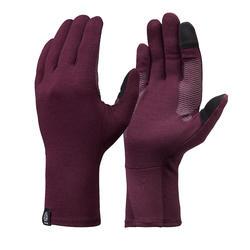 Sous-gants laine mérinos de trek en montagne TREK 500 violet adulte
