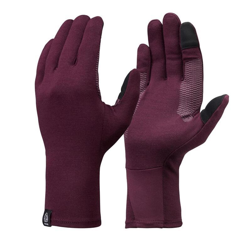 Adult Mountain Trekking Merino Wool Liner Gloves Trek 500 - Purple