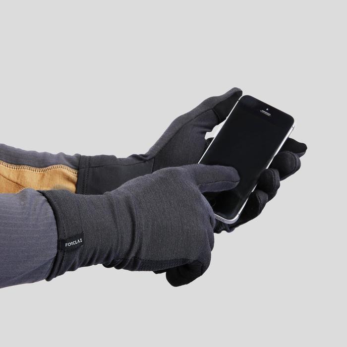 Wollen onderhandschoenen voor bergtrekking volwassenen Trek 500