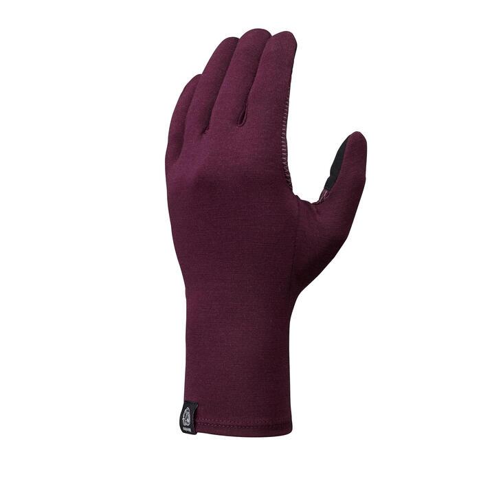 Onderhandschoenen voor bergtrekking voor volwassenen Trek 500 merinowol paars