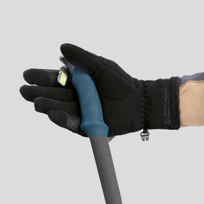 成人登山健行再生材質刷毛手套Trek 100-黑色