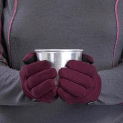 Sous-gants en laine mérinos de trekking montagne - TREK 500 bordeaux adulte