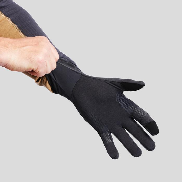 Adult Mountain Trekking Merino Wool Liner Gloves Trek 500 - Grey