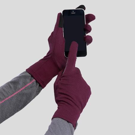 Adult Mountain Trekking Merino Wool Liner Gloves Trek 500 - maroon
