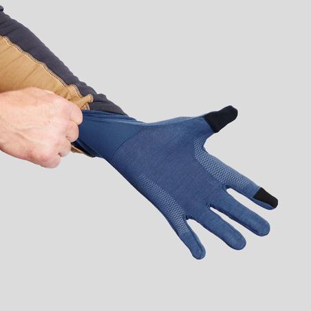 Adult Mountain Trekking Woollen Liner Gloves TREK 500