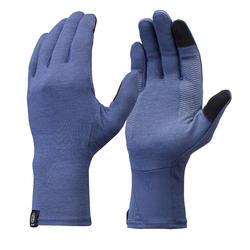 Sous-gants en laine mérinos de trekking montagne - TREK 500 bleu adulte