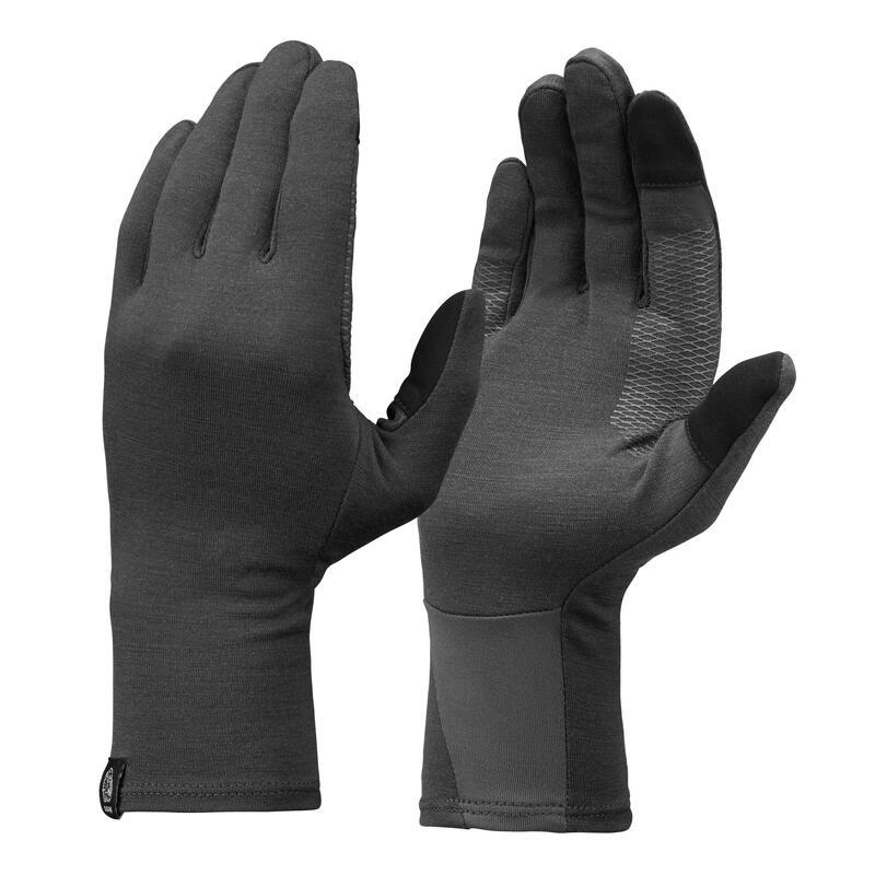 Adult Mountain Trekking Merino Wool Liner Gloves Trek 500 - grey