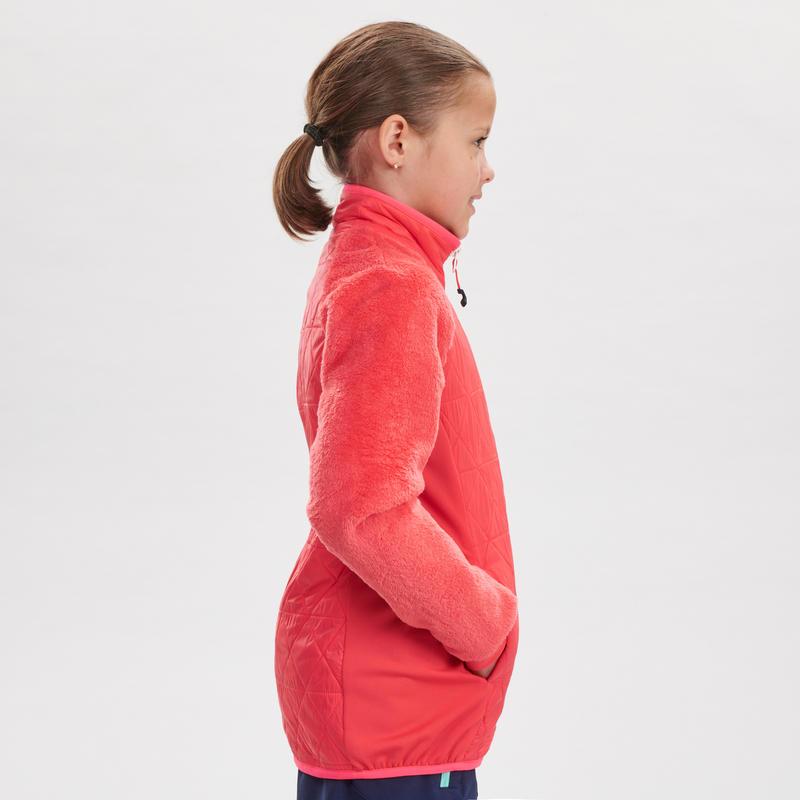 Chaqueta polar híbrida de senderismo nieve SH500 X-WARM niña 7-15 años rosa