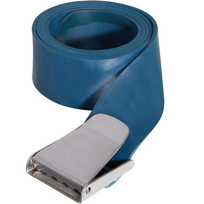 Ceinture de plomb apnée freediving FRD500 en caoutchouc bleu, boucle en métal
