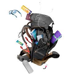 Men's Trekking Travel Backpack 50 Litres TRAVEL 500 Grey