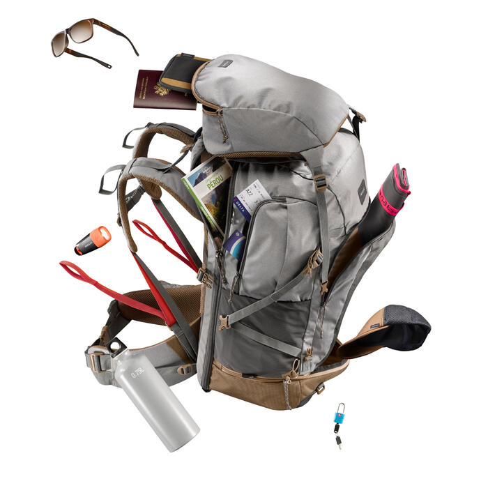 Rugzak 70 liter voor backpacken dames Travel 500 grijs