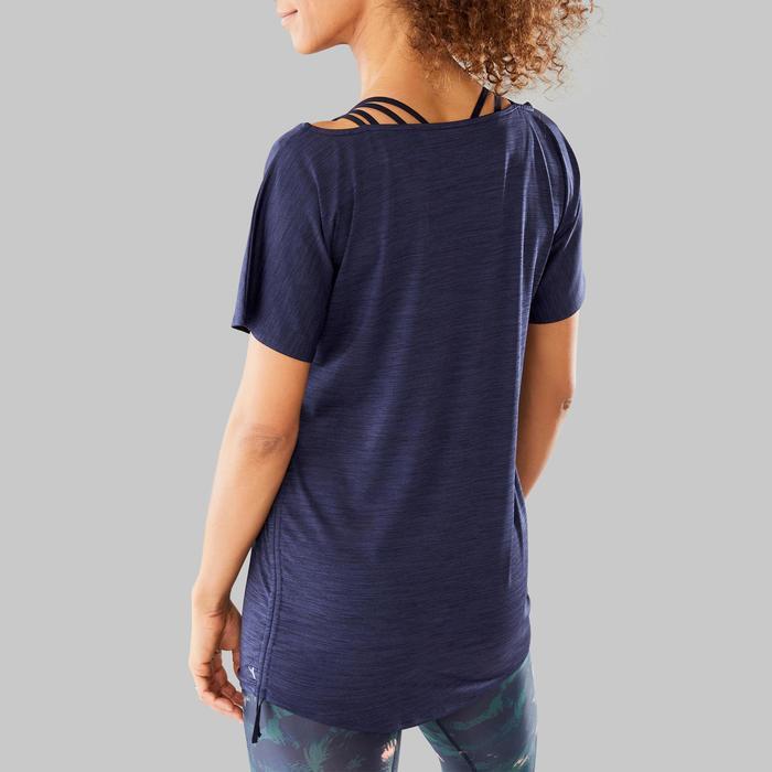 Camiseta Manga Corta de Fitness Dance Domyos Mujer Azul Marino Ajustable