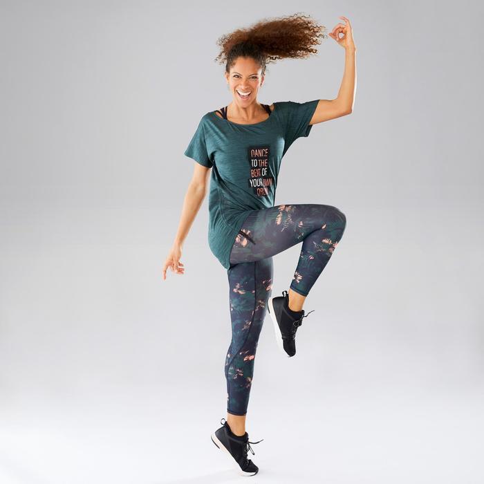 Camiseta Manga Corta de Fitness Dance Domyos Mujer Verde Agua Ajustable