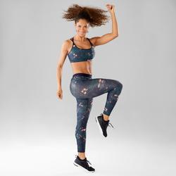 Legging danse fitness femme vert graphismes roses