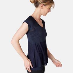 2-in-1 T-shirt voor pilates/lichte gym dames marineblauw