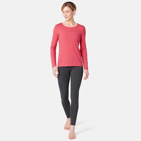 Long-Sleeved Pilates & Gentle Gym Sport T-Shirt - Mottled Pink - Women's