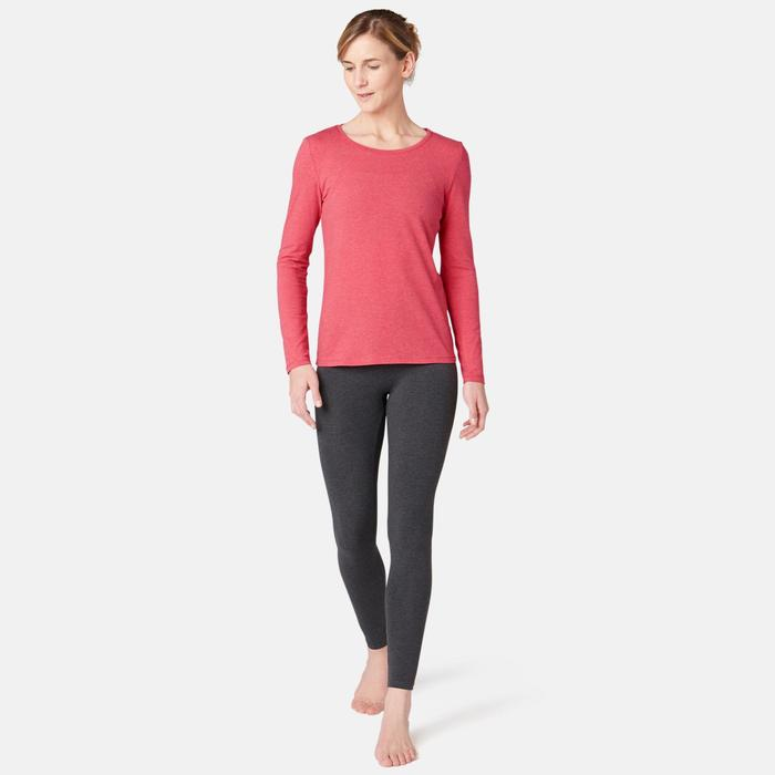 T-shirt fitness manches longues slim coton col rond femme rose