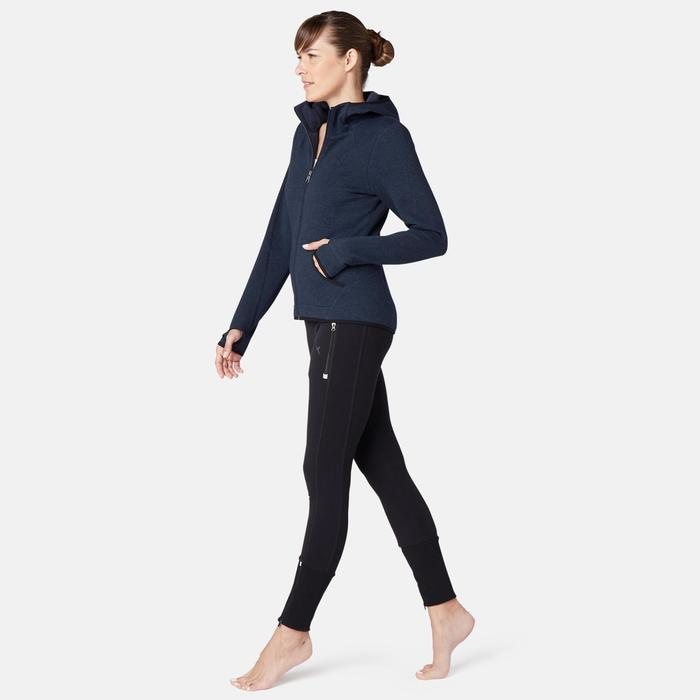 Dames hoodie met rits voor pilates en lichte gym 900 spacer marineblauw