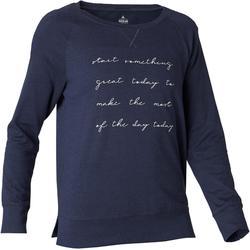 500 Women's Long-Sleeved Pilates & Gentle Gym T-Shirt - Navy Blue Print