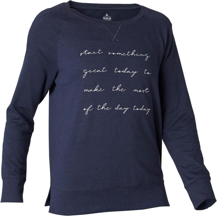 Damesshirt 500 met lange mouwen voor pilates/lichte gym marineblauw met print
