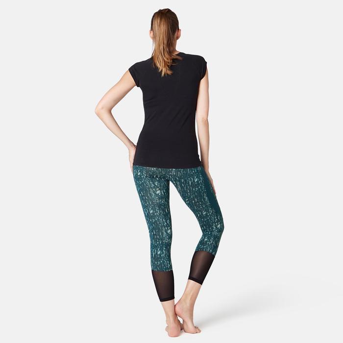 Legging 7/8 520 slim Fitness femme bleu canard printé