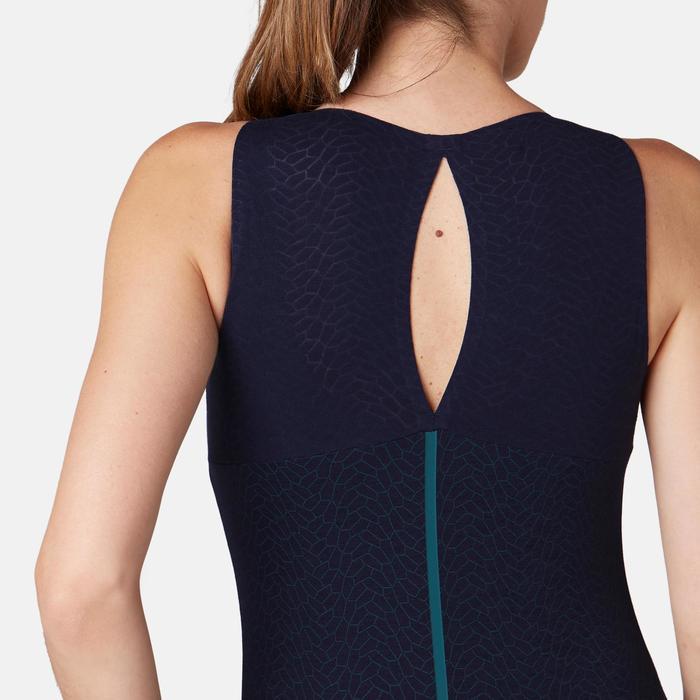 Topje voor pilates en lichte gym dames 900 slim fit ingewerkte beha blauw