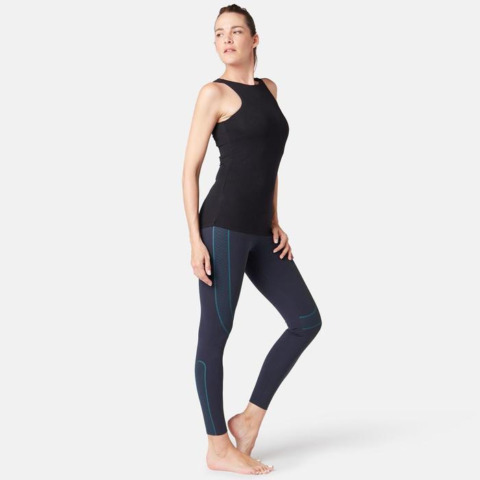 Mallas Leggings Deportivos Gimnasia Pilates Domyos 560 Regular Mujer Azul