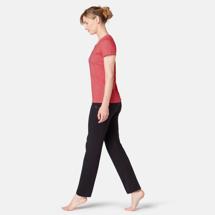 T-Shirt 500 Regular Sport Pilates sanfte Gym Damen rosa