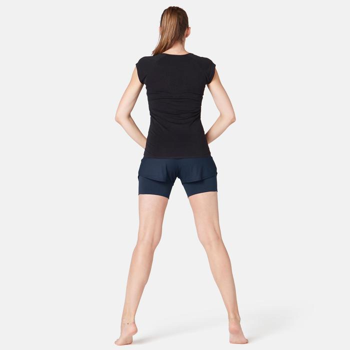 Short Coton Extensible Fitness 2 en 1 Bleu Marine