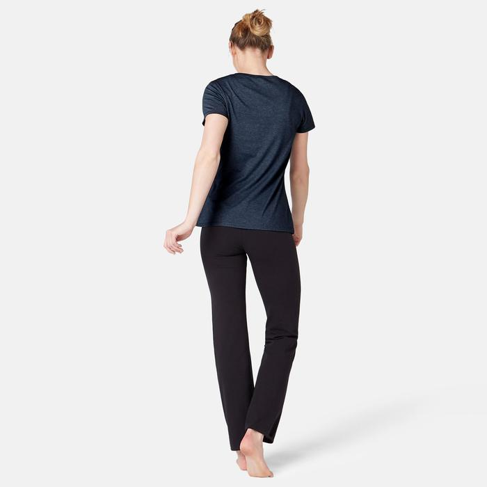 T-Shirt 500 Regular Pilates sanfte Gymnastik Damen dunkelblau