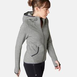 女款皮拉提斯與溫和健身Spacer連帽外套900 - 灰色